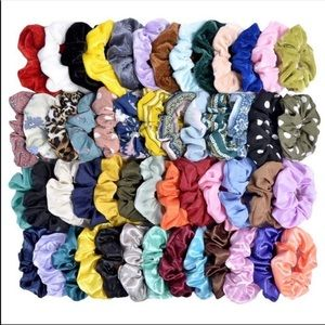 Accessories - Scrunchies Lot Of 52 Velvet Satin Floral Leopard